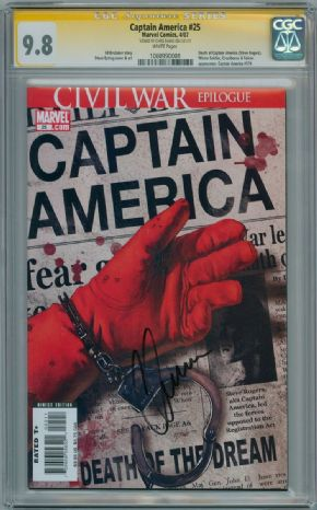 Captain America #25 First Print CGC 9.8 Signature Series Signed Chris Evans Movie Actor Marvel comic book